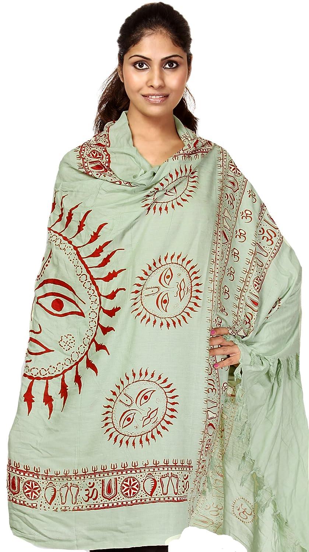 Exotic India Green Sanatana Dharma Prayer Shawl with Large Printed Surya (Sun) G