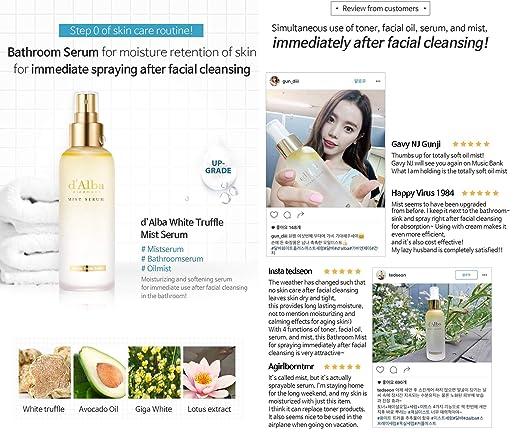 Korean Cosmetics d' Alba Piedmont White Truffle Face Mist Spray Serum-4  Function Toner, Facial