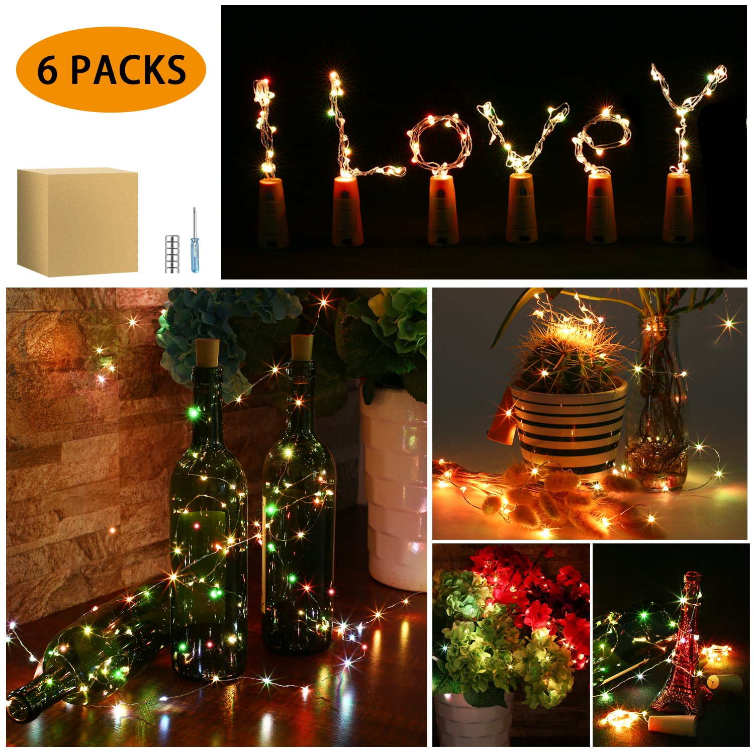 Wine Bottle Lights with Cork, ICOCO 6 Pack 15 LED Copper Wire Lights Fairy DIY Decorative String Lights for Party, Decor, Wedding, Christmas(Multi-colors Flashing)