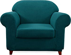 Subrtex 2-Piece Jacquard High Stretch Armchair Slipcover, Furniture Protector for Sofa, Spandex Washable 1 Seater Cushion Couch Sofa Cover Coat (Chair, Blue)