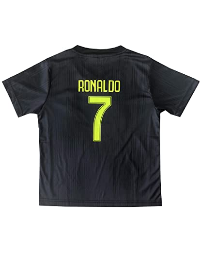 18d9b6145 Amazon.com : GamesDur 2018/2019 Ronaldo #7 Third Black Soccer Kids Jersey &  Short & Sock & Soccer Bag Youth Sizes : Sports & Outdoors