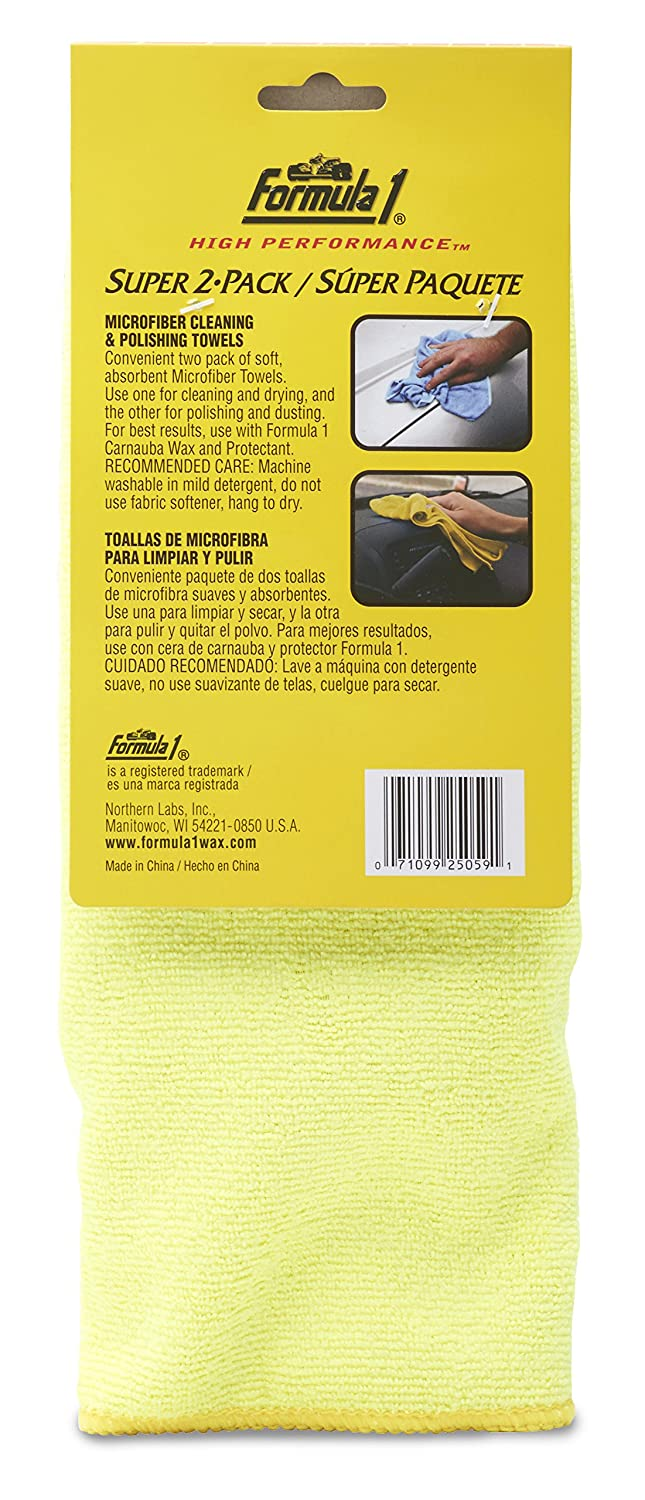 Amazon.com: Formula 1 Super 2-Pack - Microfiber Cleaning and Polishing Towels - for Wet and Dry Applications - 12