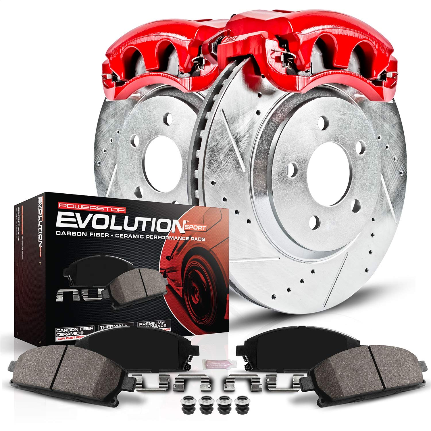 Power Stop KC2061A Z23 Evolution Sport Front Kit Rotors Pads and Brake Calipers