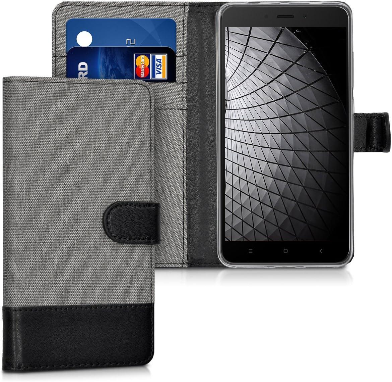 kwmobile Funda Compatible con Xiaomi Redmi Note 4 / Note 4X - Carcasa de Tela y Cuero sintético Tarjetero Gris/Negro