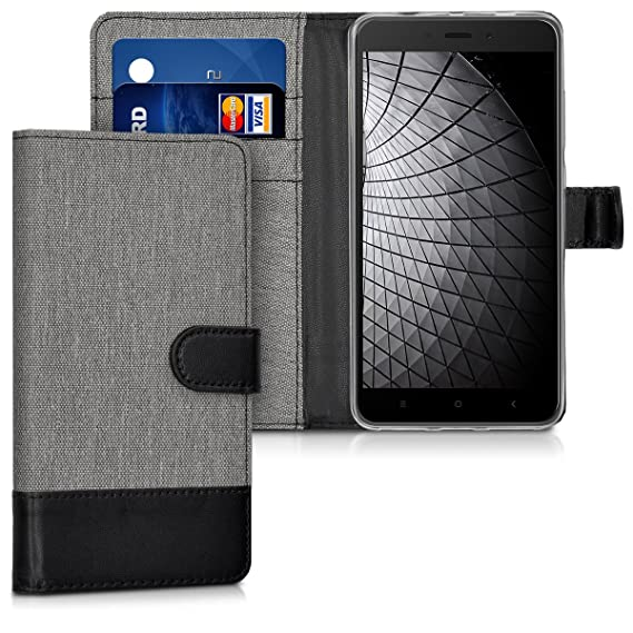 separation shoes 4479c a9926 kwmobile Wallet Case for Xiaomi Redmi Note 4 / Note 4X - Fabric and PU  Leather Flip Cover with Card Slots and Stand - Grey/Black