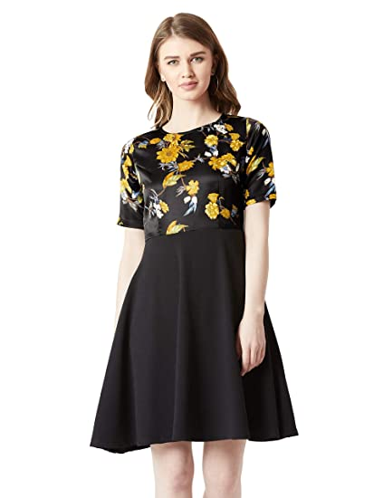 b560ab55be Miss Chase Women s Black Floral Skater Dress(MCAW18D10-97-171-02 Multicolor-