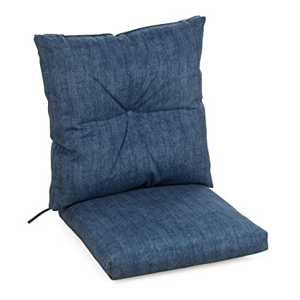 Wondrous Amazon Com Blue Denim Outdoor Patio Chair Cushion Hinged Theyellowbook Wood Chair Design Ideas Theyellowbookinfo