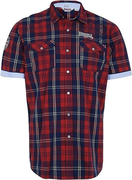 Lonsdale - Camisa Casual - Manga Corta - para Hombre Rojo ...