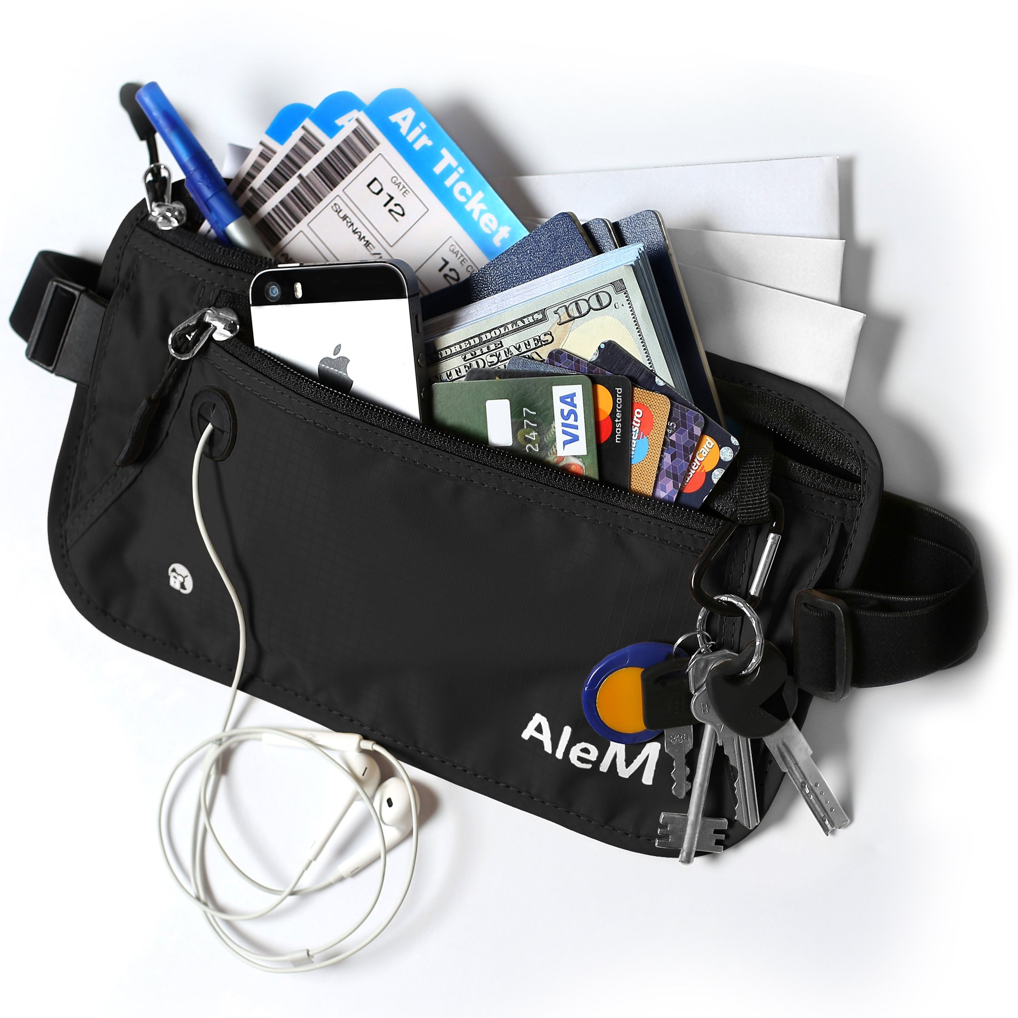 Travel RFID Blocking Money Belt - Hidden Wallet & Passport Holder (Black)