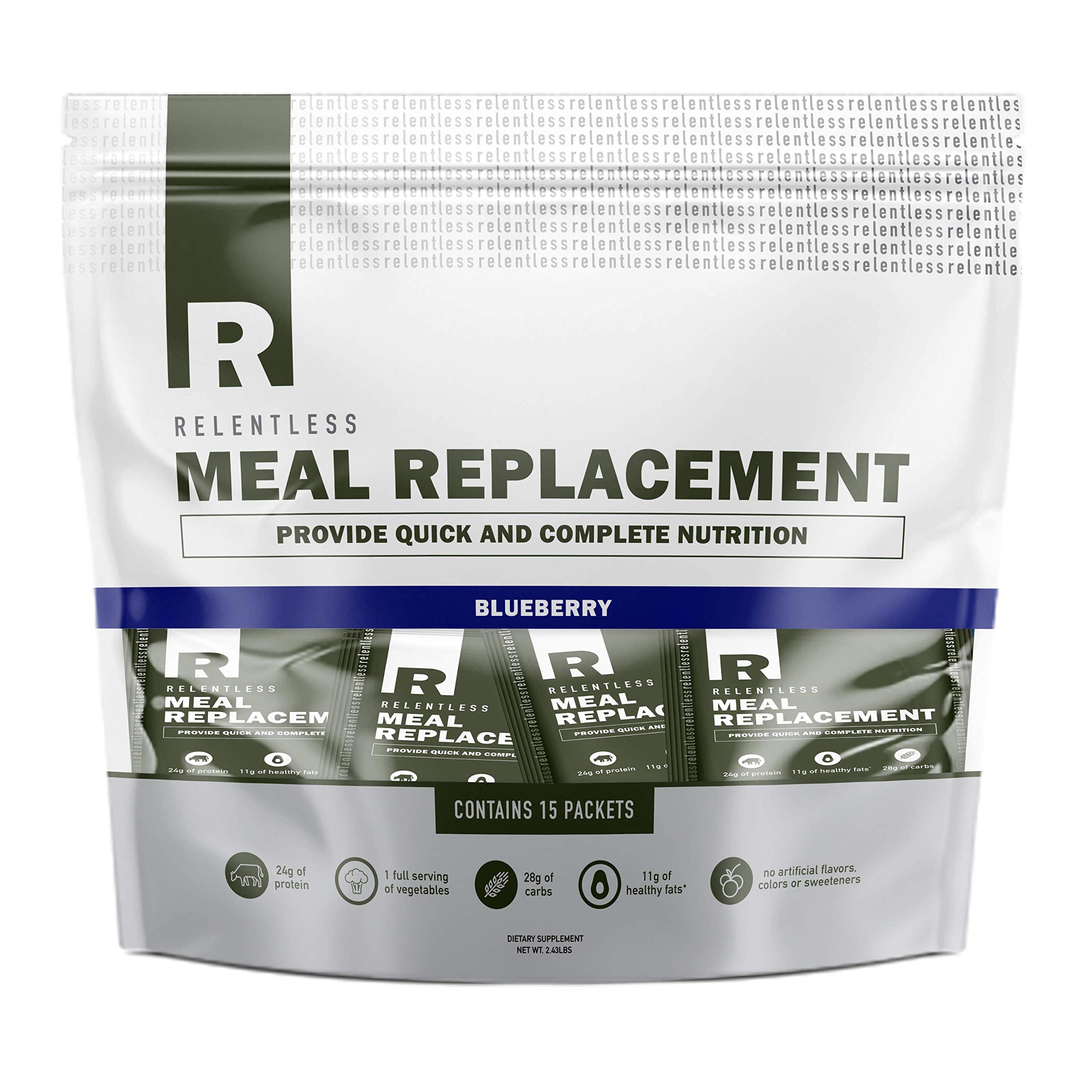 Individual Meal Replacement Powder Packets by Live Relentless Nutrition - Whole Food Protein Shake Powder Packets (Blueberry, 15 On-The-Go Packets) by LIVE RELENTLESS NUTRITION