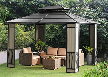 Merveilleux Sunjoy 10 X 12 Heavy Duty Galvanized Steel Hardtop Wyndham Patio Gazebo