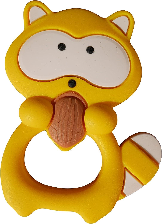 Mordedor de Silicona con Forma de Mapache Chupete para Dentici/ón Masticable Sin BPA 7 Colores Amarillo