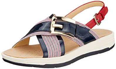 Womens D Koleos F Open Toe Sandals, Navy/White/Red Geox