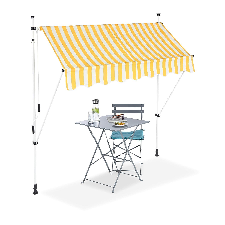 vendita di fama mondiale online Relaxdays - - - Tenda Parasole per Balcone, Retrattile, Senza Viti, Altezza Regolabile, Larghezza 200 cm, Motivo a Righe, colore  Giallo  vendita outlet