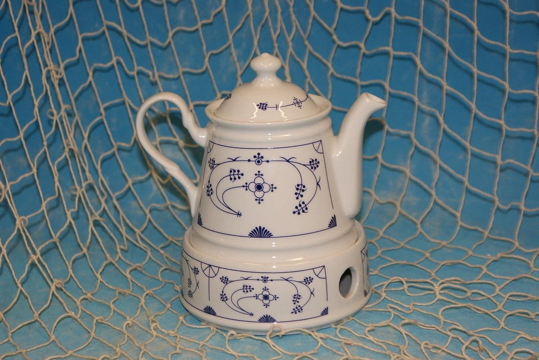 Ocean-Line Set Teekanne mit Stövchen 0,4l Porzellan Indisch Blau ...