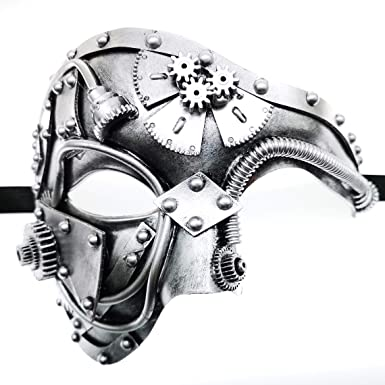 Men Women Steampunk Fiction Black Silver Phantom Half Face /& Eye Masks