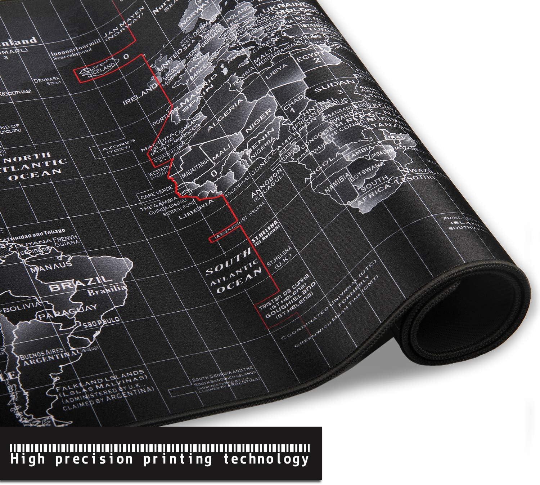 Trabajo de Oficina Lavable Antideslizante Dise/ñada para Gamers Negro Mapa Mundi JIALONG Alfombrilla Raton Multifuncional Grande Gaming Mouse Pad XXL 900x400mm