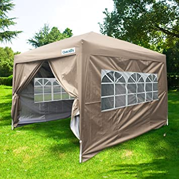 quictent waterproof 10x10u0027 ez pop up canopy gazebo party tent beige portable with removable sides