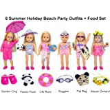 27-Piece 18 inch Doll Clothes and Accessories - American Summer Holiday Beach Party Swimsuit Sets & Bathrobe Fits for 18 inch Girl Dolls