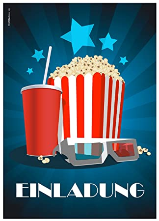 12 Einladungskarten U0026quot;Kino Popcornu0026quot; Zur Film  /Kinovorführung Am Geburtstag  Kindergeburtstag /