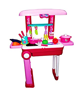 Buy Barbie 2 In 1 Little Chef Kids Kitchen Play Set Big With Light Sound Online At Low Prices In India Amazon In