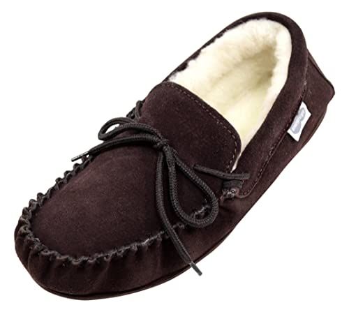SNUGRUGS - Zapatillas de estar por casa para hombre Marrón marrón, color Marrón, talla 4