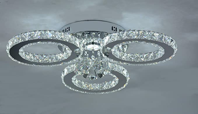 LOCO LED Crystal Flush Mount, 3 luces, galvanoplastia ...
