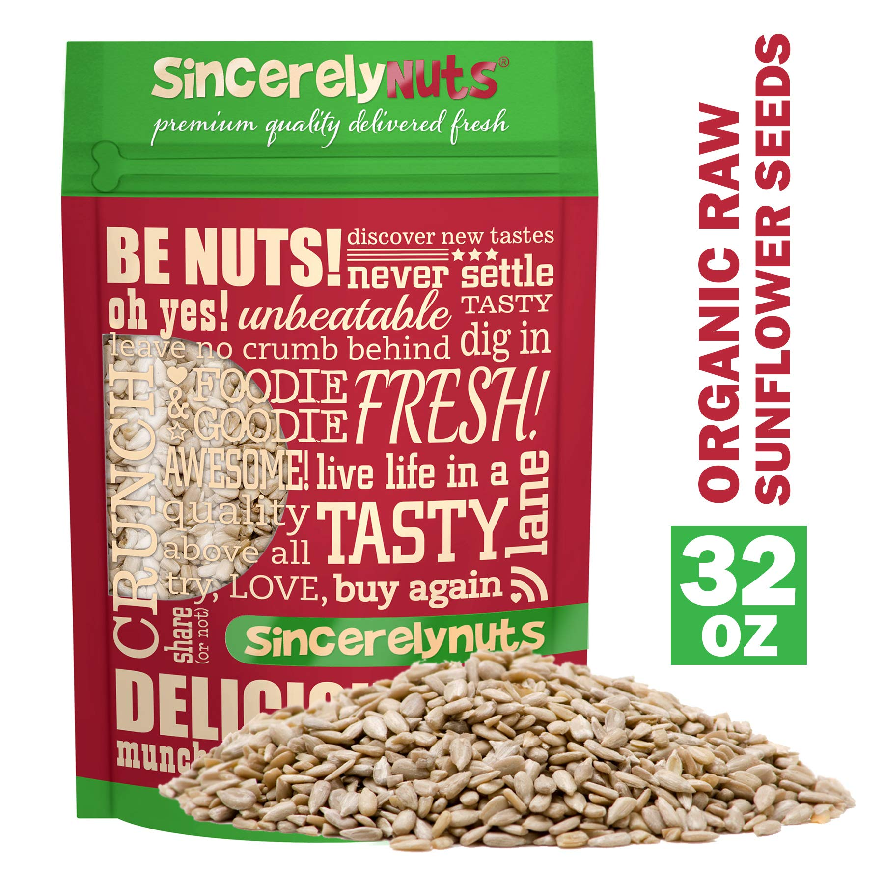 Sincerely Nuts Organic Sunflower Seed Kernels Raw (No Shell) (2lb bag) | Nutritious Antioxidant Rich Superfood Snack | Source of Protein, Fiber, Essential Vitamins & Minerals | Vegan and Gluten Free by Sincerely Nuts