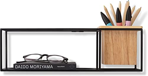 Umbra Cubist Floating Shelf with Built-In Succulent Planter Modern Wall D cor and Geometric Display Shelf for Books, Candles, Mementos, Photos, Indoor Plants and More Small, Black