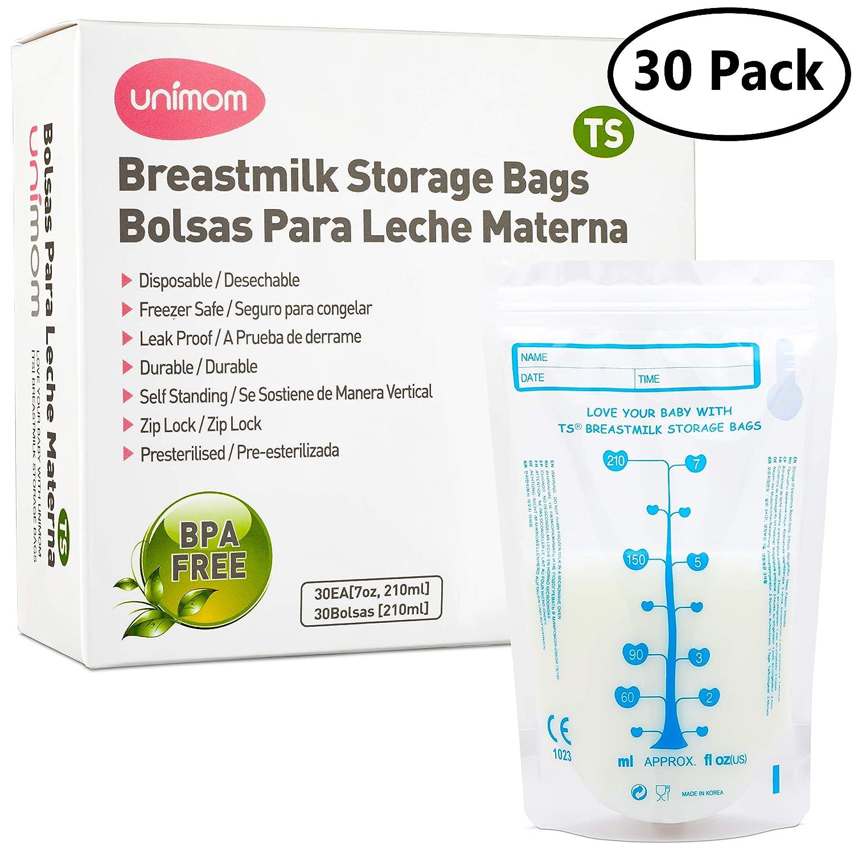 30 Thermal Sensor Breast Milk Bags – Shows when Milk is Frozen, Cold or Hot - Self Standing, Zip Top,...