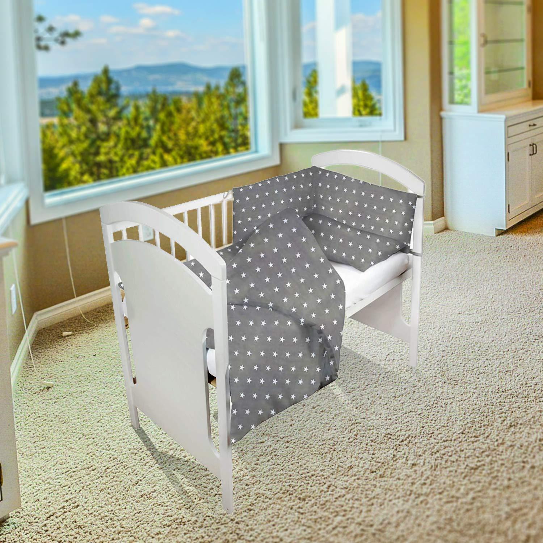 baby-bettumrandung Bettnestchen f/ür Kinderbett Beistellbett Gitterbett umrandung 210 x 30 cm Wei/ß Nestchen Babybett 70x140 umrandungen