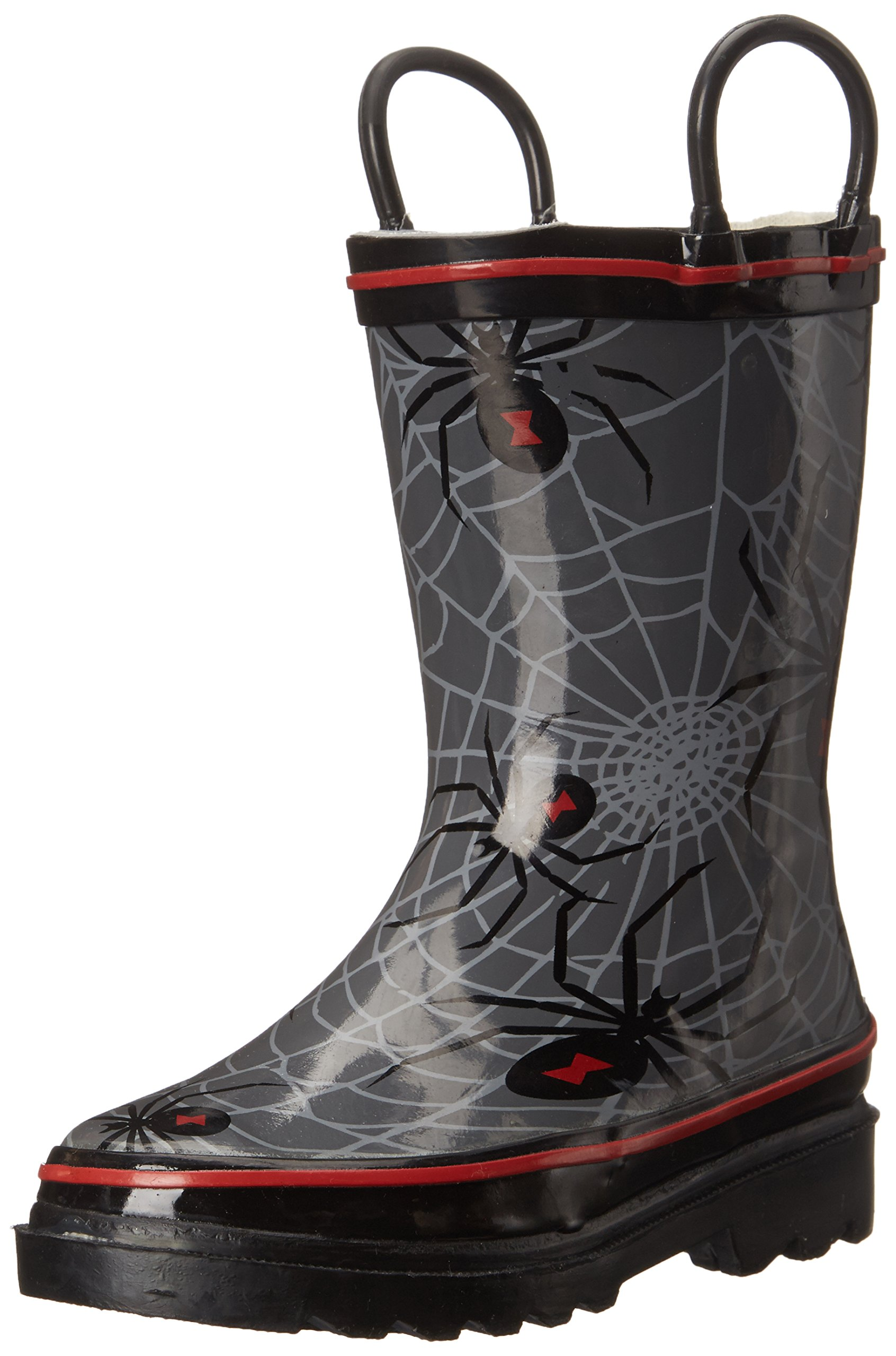 Western Chief Boys Waterproof Printed Rain Boot with Easy Pull On Handles, Spider Crawl, 9 M US Toddler