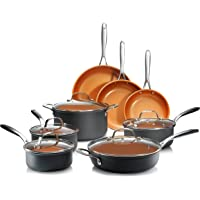 Gotham Steel Pro 1838 Hard Anodized Cookware Set, 13 Piece, Copper