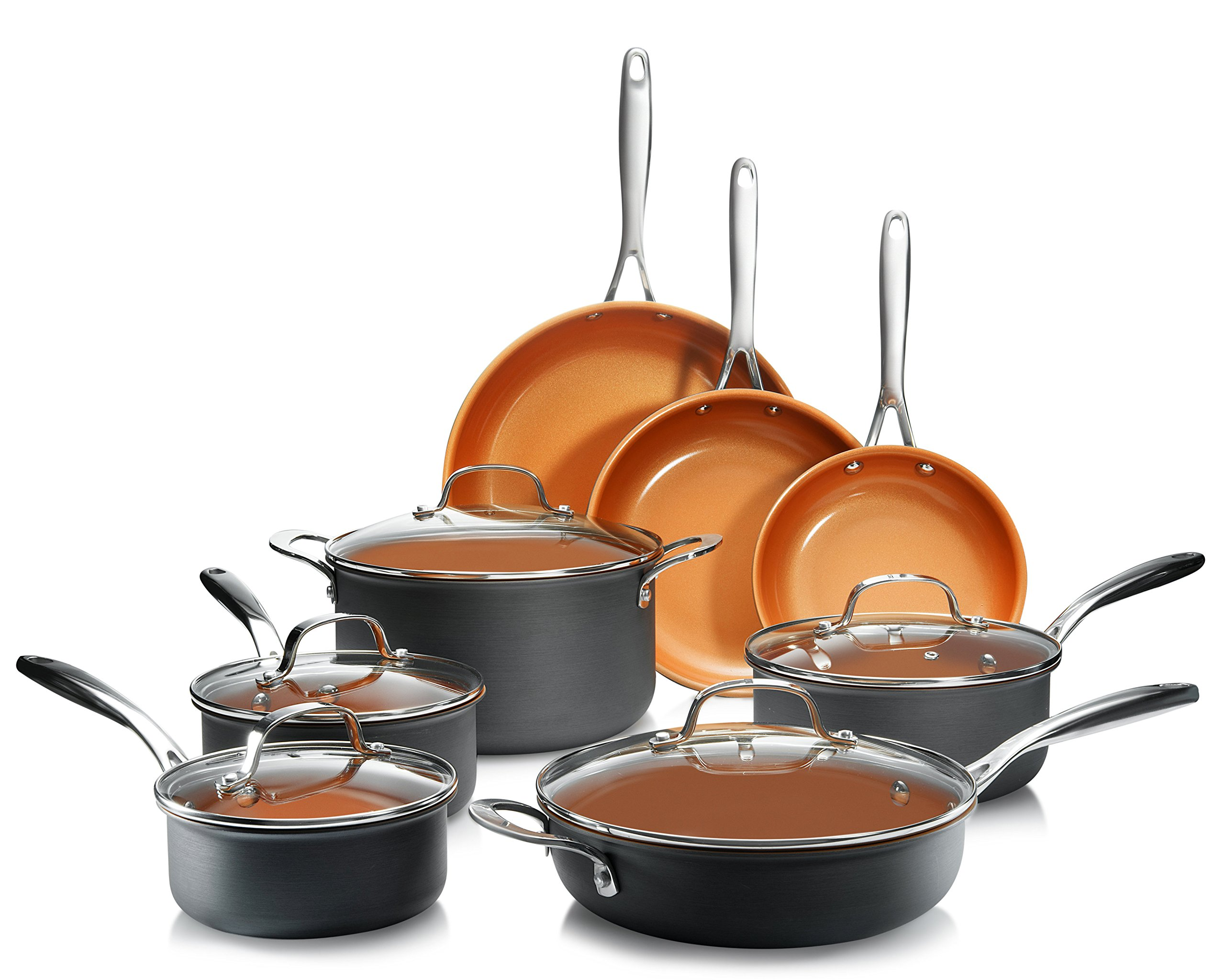 Gotham Steel Professional– 13 Piece Hard Anodized Premium Cookware Set with Ultimate Nonstick Titanium and Ceramic Coating, Oven and Dishwasher Safe