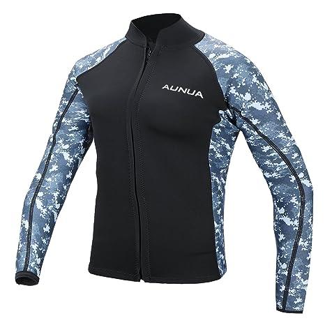 Aunua Men s 2mm Neoprene Wetsuit Camouflage Jacket Long Sleeve Surfing Tops(8021  DigitalCamouflage ... bbe473115