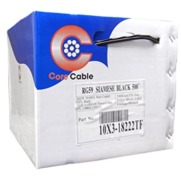acl 500 pies RG59 Coaxial/Cable de alimentación siamés, núcleo sólido coaxial, 18