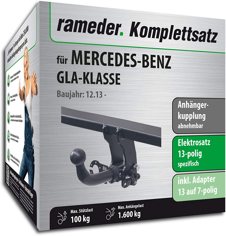 Anh/ängerkupplung abnehmbar 118225-11743-2 13pol Elektrik f/ür Mercedes-Benz GLA-KLASSE Rameder Komplettsatz