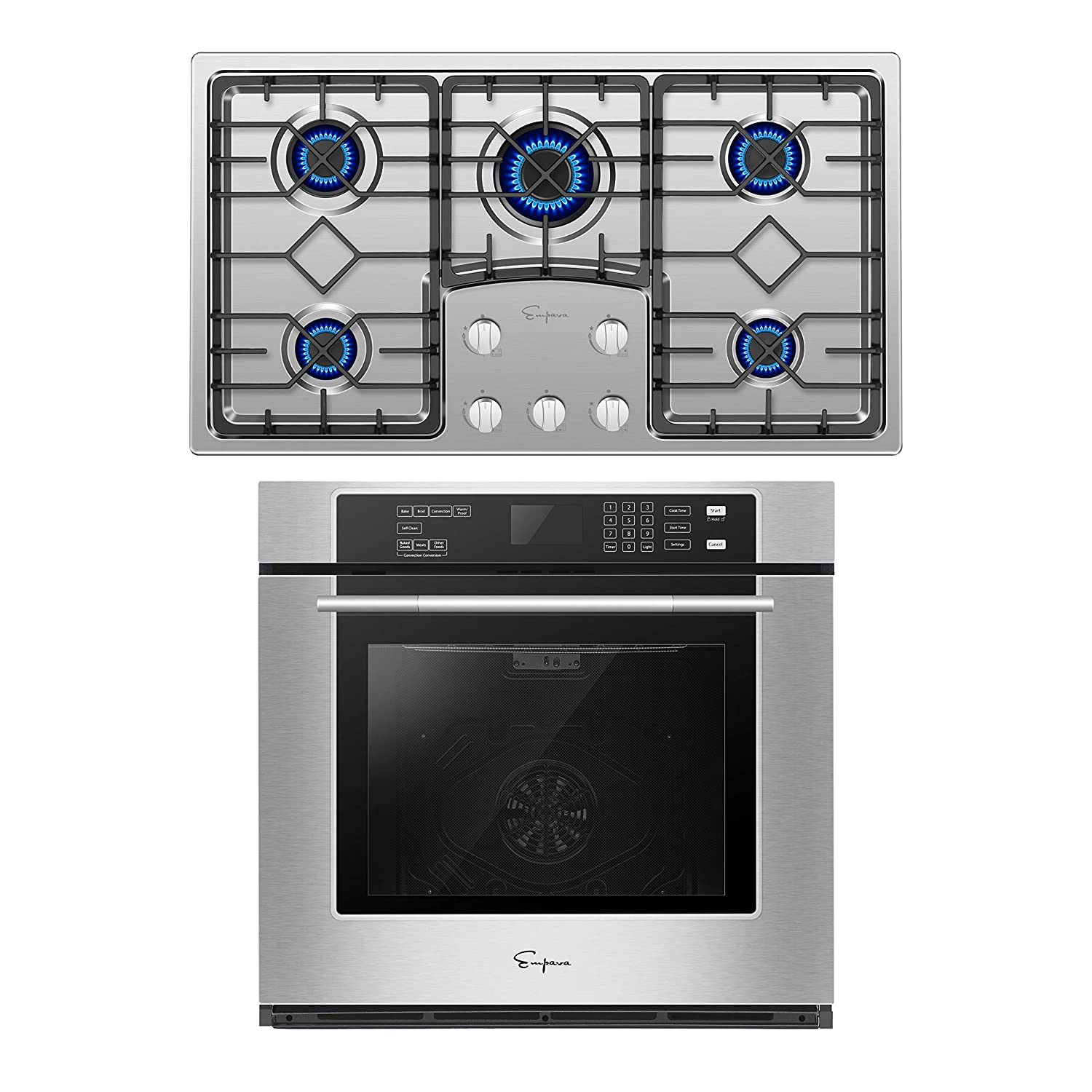 Empava 30 Inch Electric Single Wall Oven with Self-cleaning Convection Fan and 36 Inch Gas Cooktop Stove LPG/NG Convertible with 5 Italy SABAF Burners in Stainless Steel