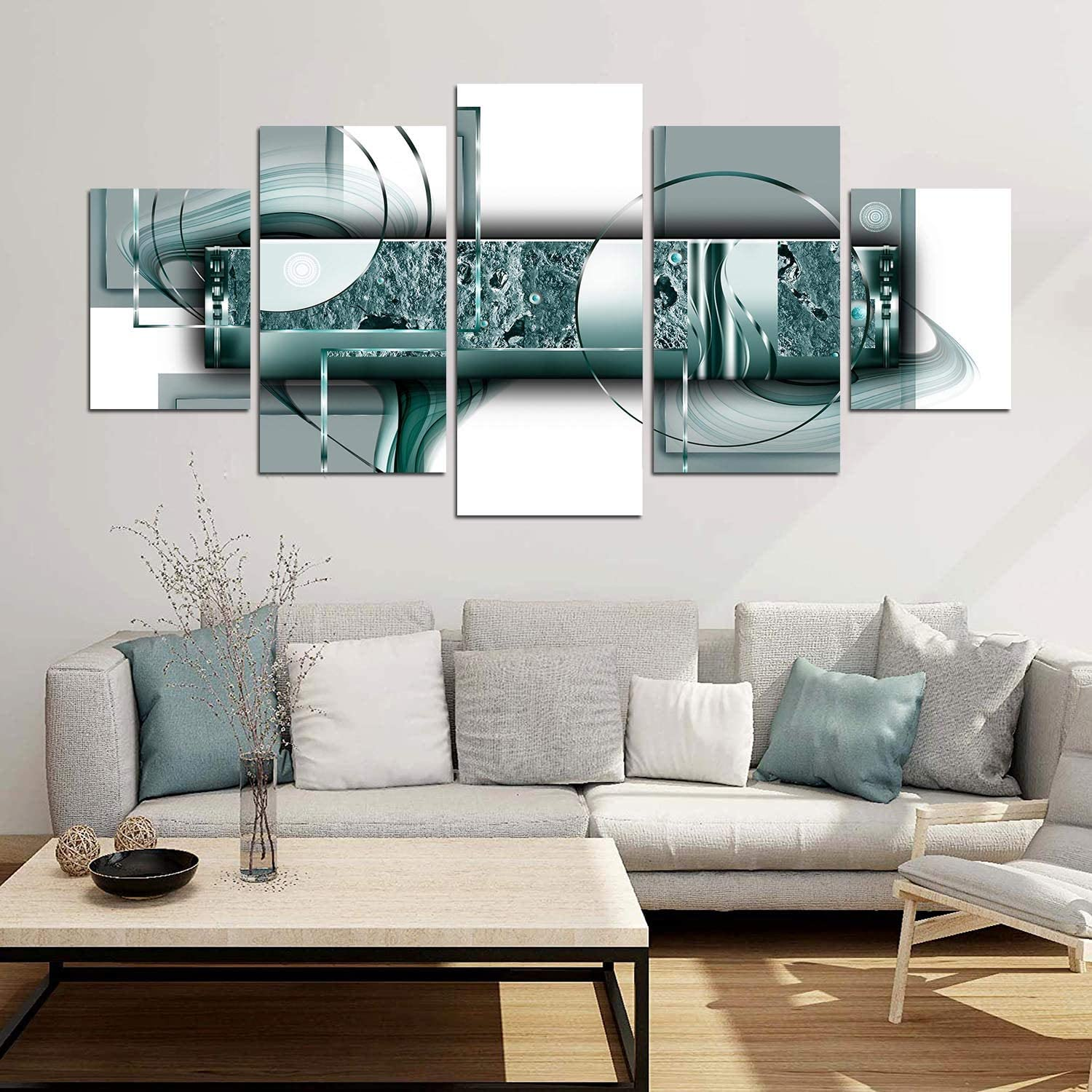 yj_art Green Abstract Canvas Print Painting Home Decor 5 Panels Turquoise Wall Art Picture for Living Room Office Decorations Ready to Hang (C,Overall Size: 60''W x 30''H)
