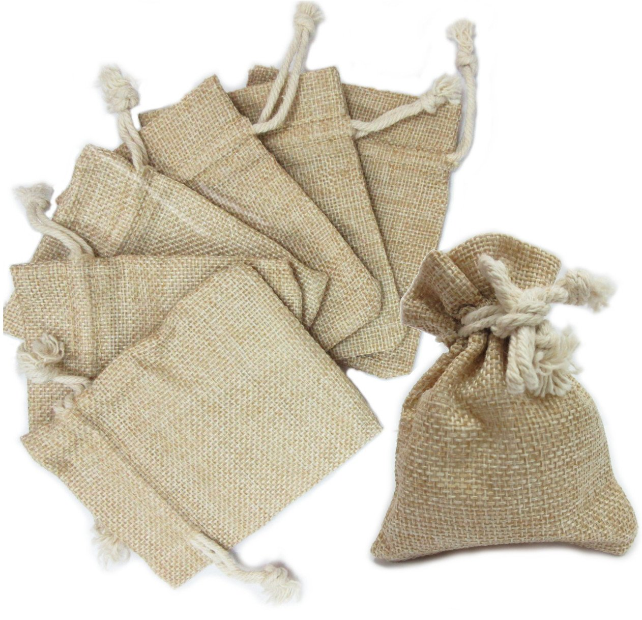 Ovee Lando Natural Color Burlap Bag with Drawstring Closure for Arts & Crafts Projects, Gift Packaging, Presents, Snacks & Jewelry (30 Pack) by Ovee Lando (Image #3)