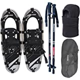 Flashtek Snowshoes for men and women, Light Weight Aluminum Terrain Snowshoes + Pair Anti-Shock Adjustable Snowshoeing Pole + Gaiter/Mask