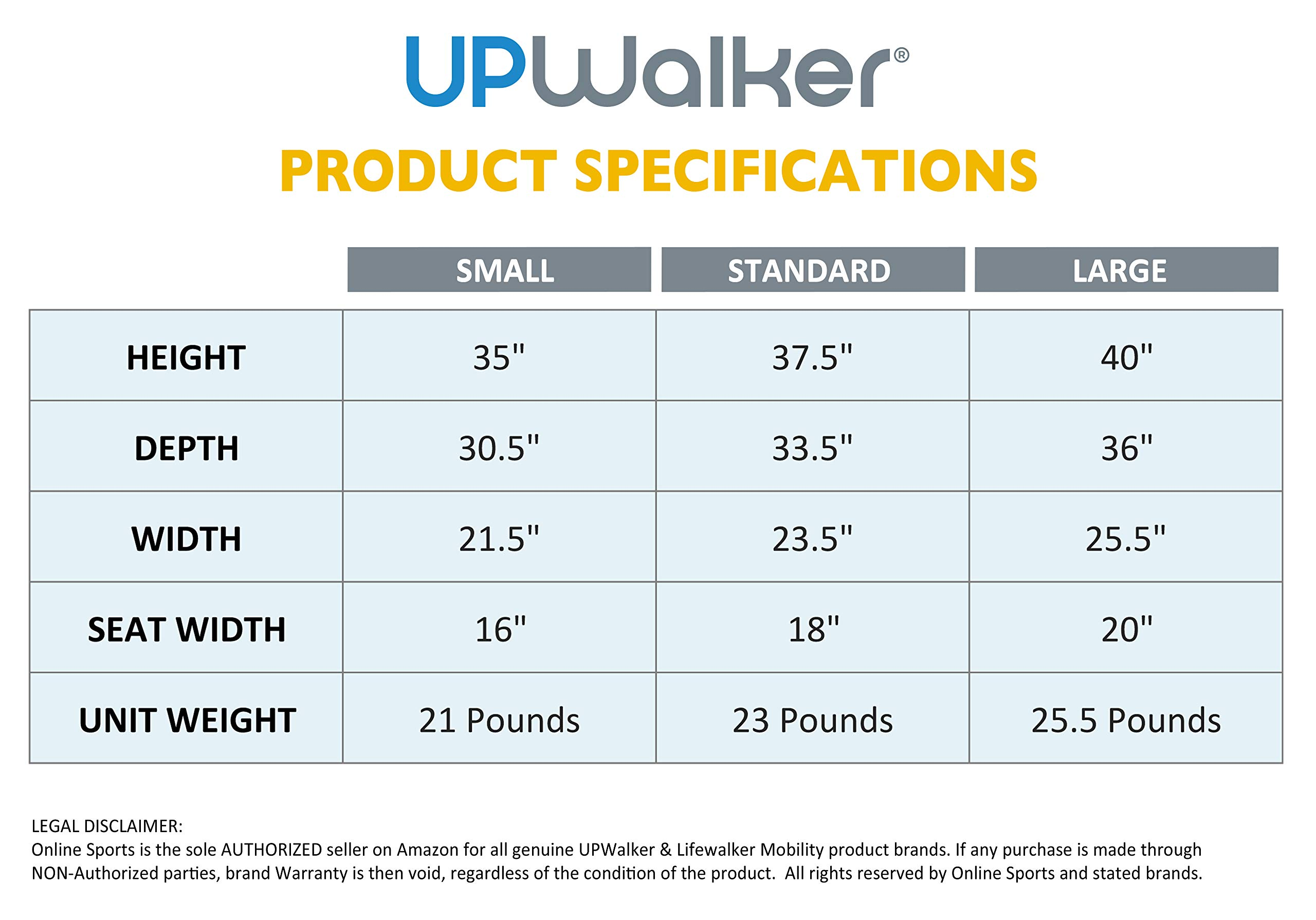 UPWalker Original Upright Walker - Size Large (Stand Up Rolling Mobility Walking Aid with Seat) by LifeWalker