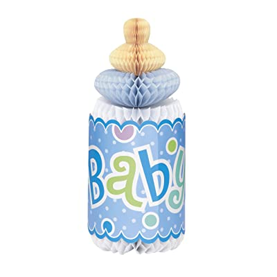 "12"" Bottle-Shaped Blue Polka Dot Boy Baby Shower Centerpiece Decoration: Kitchen & Dining"