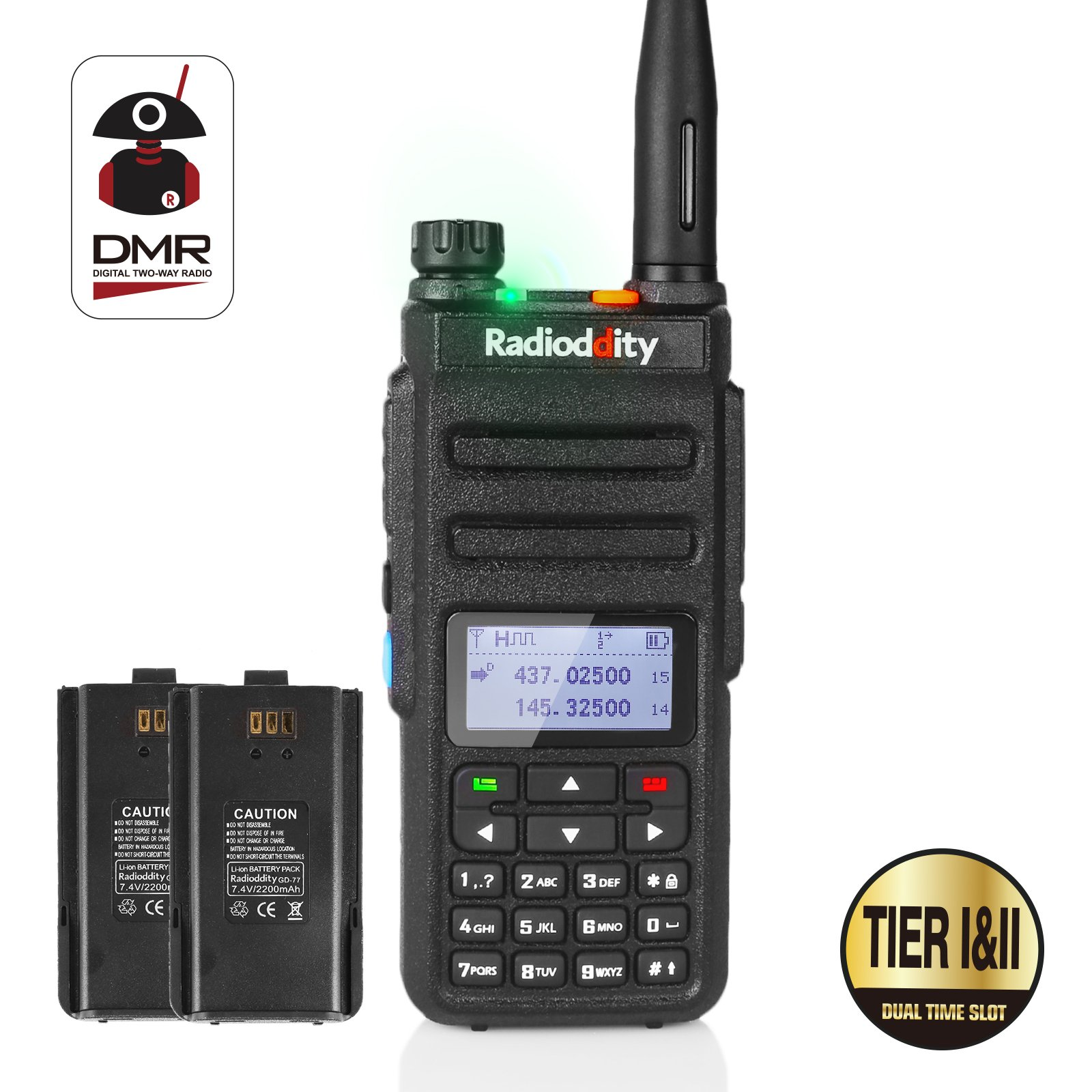 Radioddity GD-77 Dual Band Dual Time Slot DMR Digital / Analog Two Way Radio 136-174 /400-470MHz 1024 Channels Ham Amateur Radio Compatible with MOTOTRBO, Free Programming Cable and Extra Battery