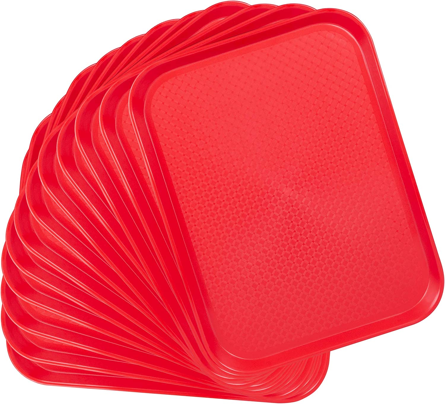 12-pack Fast Food Cafeteria Tray | Twelve 14 x 18 Rectangular Textured Plastic Food Serving TV Tray Multipack | School Lunch, Diner, Commercial Kitchen Restaurant Equipment (Red)