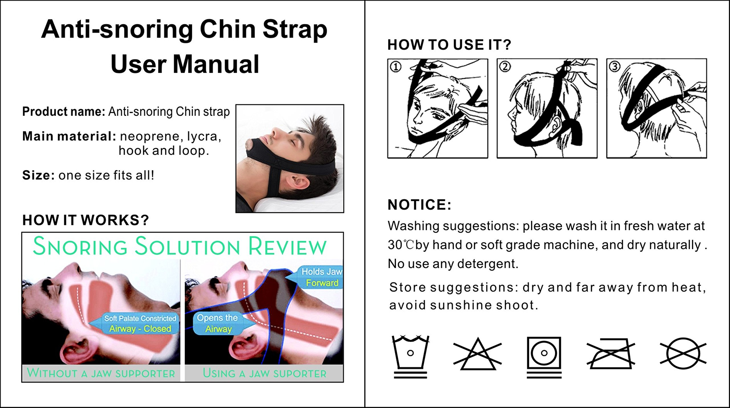 2 in 1 Anti Snoring Chin Strap and Sleep Mask by HOBBA
