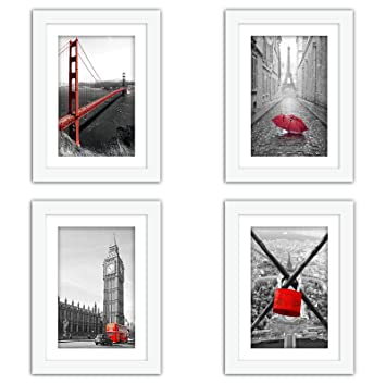 Xufly 4pcs 5x7 Real Glass Wood Frame White With Mat Fit 4x6 Inch Family Photo Desktop On Wall Vertical Horizontal Office Decoration London Red Bus