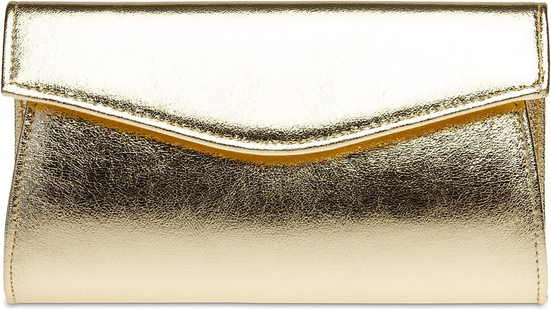 Caspar TA426 Bolso de Mano Fiesta para Mujer Clutch Metalizado con Cadena Larga