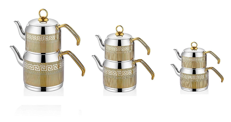 Türkischer Teekocher Edelstahl Wasserkocher Caydanlik Pasha Tee Kocher 4-tlg.Set