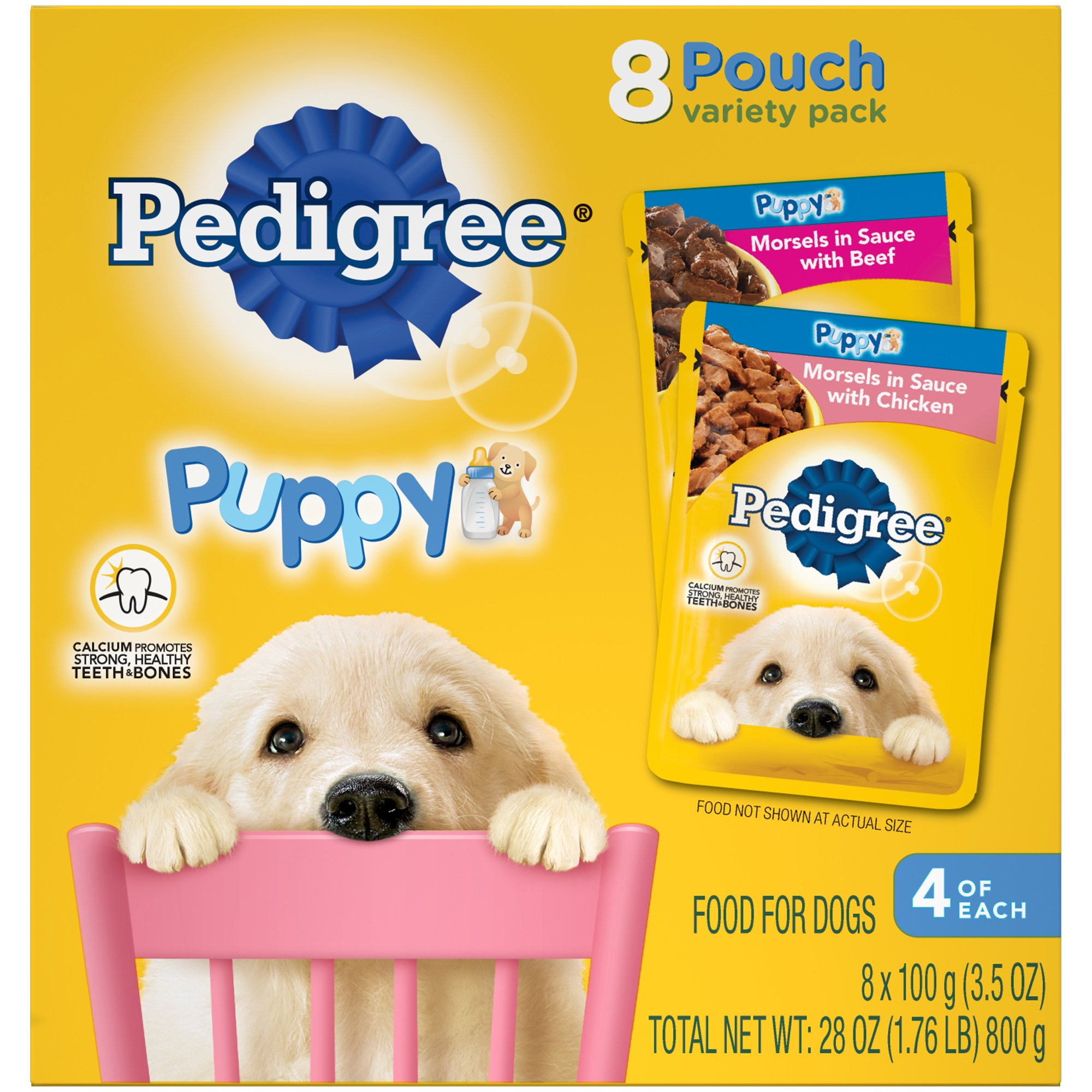 Pedigree CHOICE CUTS Puppy Morsels in Sauce Wet Dog Food Variety Pack Chicken Beef, (16) 3.5 oz. Pouches